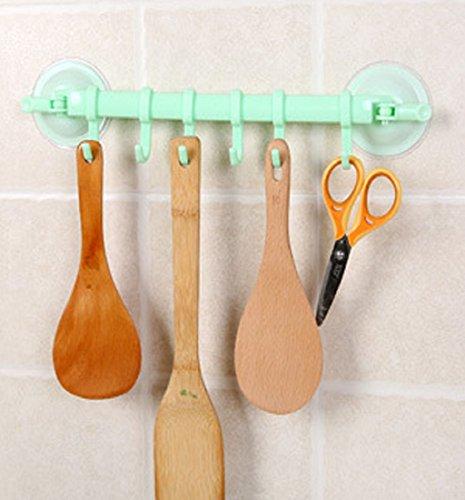 Mikey Store Kitchen Bathroom Removable Hanging Shelves Vacuum Sucker Towel plastic Hooks Hanger Green