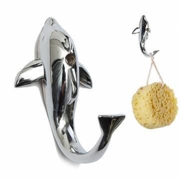NBellShop Silver Chrome Alloy Dolphin Hook Towel Hat Clothes Bathroom Hanger