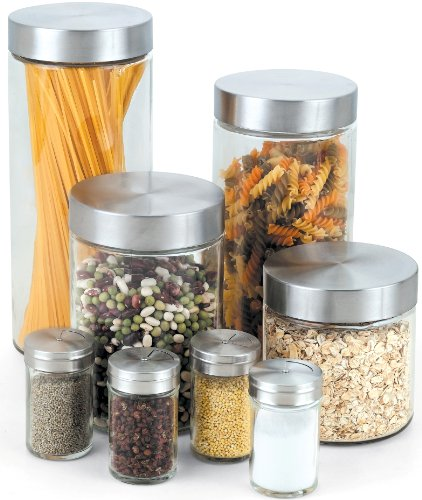 Cook N Home Glass Canister and Spice Jar Set 8-Piece