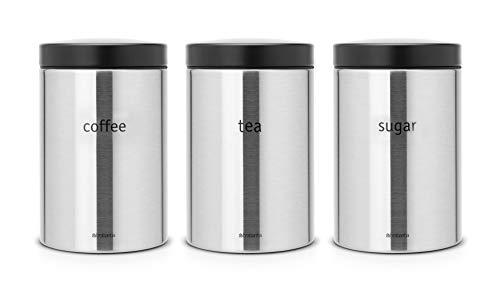 Brabantia Coffee  Tea  Sugar 14 Litre Canister Set- Brilliant Steel And Matt Black
