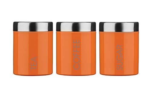 Premier Housewares Liberty Tea Coffee and Sugar Canisters-Set of 3-Orange