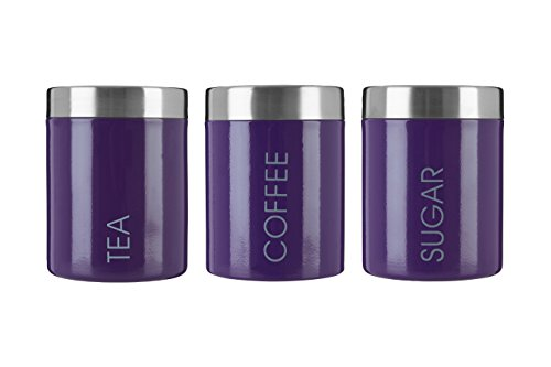 Premier Housewares Liberty Tea Coffee and Sugar Canisters - Set of 3 Purple