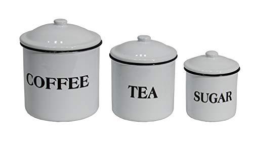 Farmhouse Enamel Canister Set Coffee Tea Sugar White Metal Kitchen Food Storage Containers