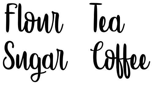 Set of 4 Canister Labels -V5- Vinyl Stickers - Kitchen Organization - Flour Sugar Tea Coffee - Die Cut Decals - Hipster - Black