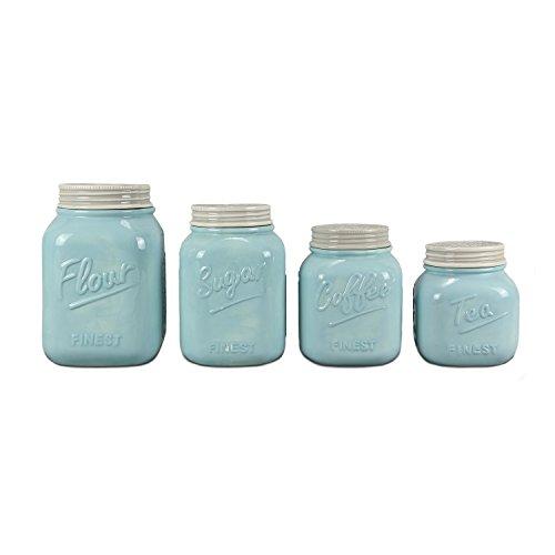 Blue Ceramic Mason Jar Canister Set Set of 4 by ZallZo