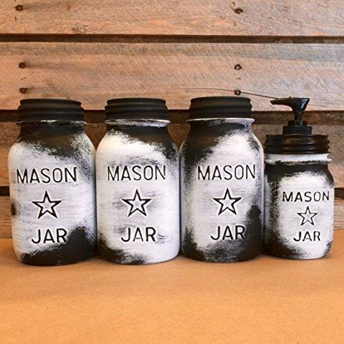 Vintage Mason Jar Canisters Rustic White Mason Star Jars Mason Jar Soap Dispenser White Mason Jar Kitchen Canisters Farmhouse Kitchen Custom Colors Available
