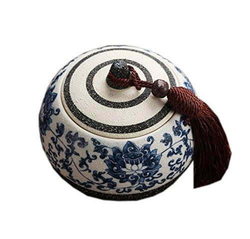 Twin Lotus Flowers Classic China Snow-Shape Enamel Ceramic Tea Container