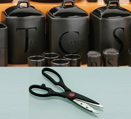 BLACK CERAMIC TEXT TEA  COFFEE  SUGAR JARS  Multi Function Scissors by PRIME FURNISHING