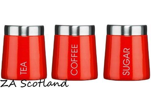 ENAMEL TEA COFFEE SUGAR JARS  MADISON RED COLOUR STORAGE JARS NEW STYLE JARS by Premier