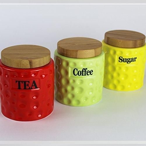 Set of 3 Colour Ceramic Storage Canisters Tea Coffee Sugar Jars With Bamboo Lid Prime Homewaresby Prime Homewares