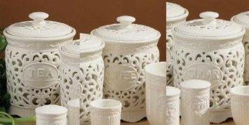 TEA COFFEE SUGAR JAR CANISTER STORAGE SET CERAMIC LACE by Premier Housewares BY PRIME FURNISHING