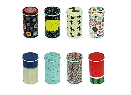 Graces DawnSet of 8 Home Kitchen Storage Containers Colorful Tins Round Tea Tins