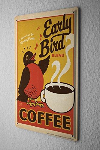 Kitchen Tin Sign Plate Early Bird Coffee Mug Metal Plate 8X12