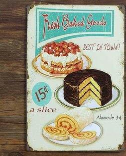 Vintage Metal Poster Retro Fresh Baked Goods Kitchen Tin Sign Wall Plaque