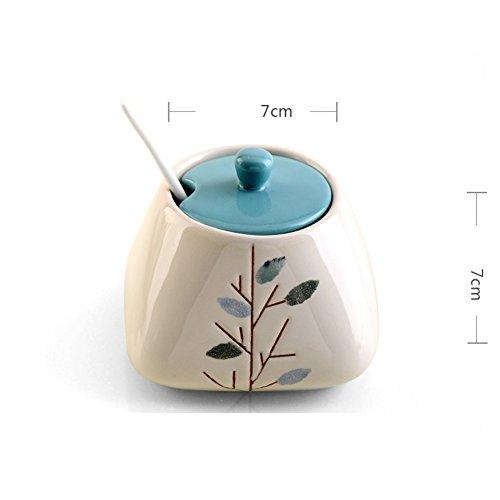 Creative fashion ceramic storage jar Spice jar setseasonning box fresh chopstick holder grease-C