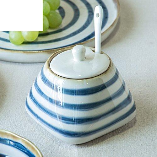 Creative type ceramic storage jars kitchen appliances seasoning salt bottle reserve box with lid-A