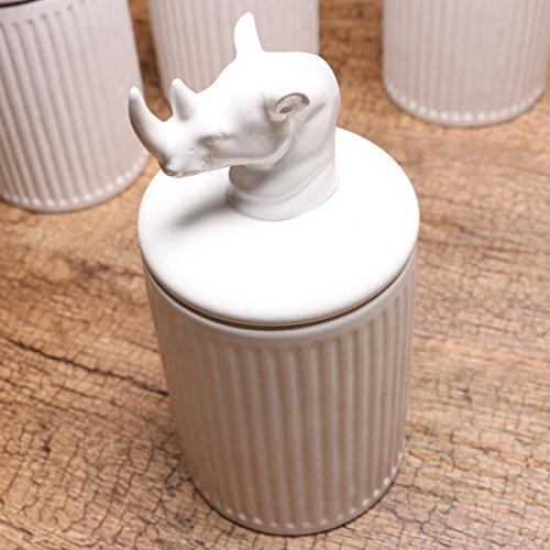 KEYAMA 1 Piece Rhinoceros white ceramic food storage jar 20 OZ 600ML ceramic food Sealed jar Tea Coffee Spice Storage canisters Exquisite animal modeling Kitchen Decorative Storage jars Rhinoceros