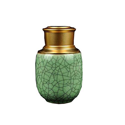 Portable Ceramics Storage Jar Tea Tins with Metal Cover