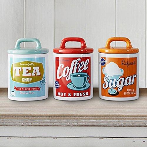 Tea Coffee Sugar Ceramic storage Jars - Vintage retro design - 60s style storage jars by The retro Kitchen Shop