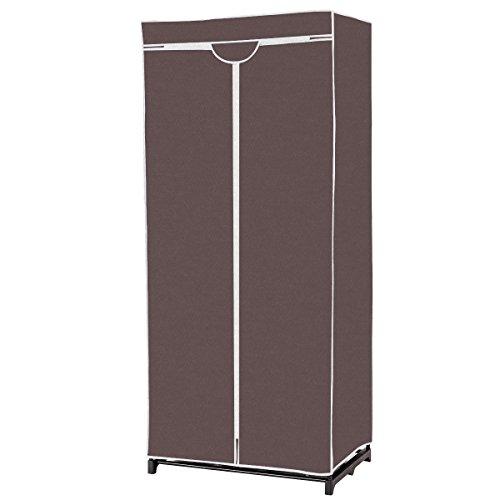 GOFLAME Clothes Closet Portable Freestanding Closet Shelf Storage Organizer Wardrobe with Hanging Rack WaterproofNon-Woven Fabric Cover Coffee