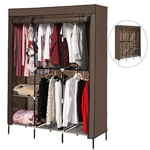 langomke Wardrobe Closets Portable Clothes Closet Non-Woven Fabric Storage Organizer Rolling Door Cloth Storage Shelf with 5 Hanging Rack Coffee