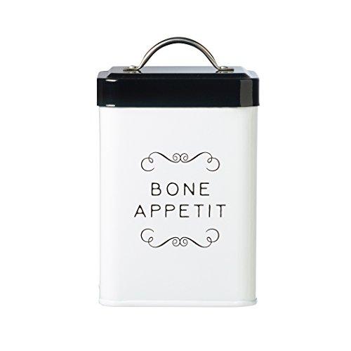 Amici Pet A7CDI014R Sparky Bone Appetit Metal Treat Canister Food Safe Push Top Lid 36 Ounces