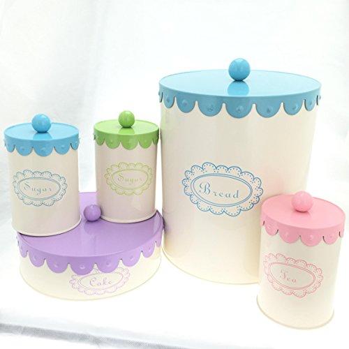 5 Piece Set Containers Bread Box Cake Coffee Tea Sugar Canisters - Cream Complete Kitchen Organizer