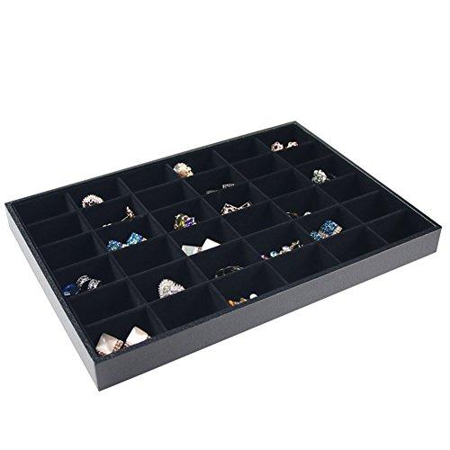 Ginasy Stackable 243036 Grid Jewelry Tray Showcase Display Organizer 36 Grid Black