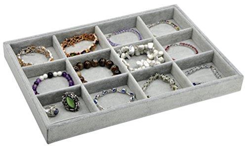 Jewelry Box Jewelry Display Tray Inserts 12 Grids Jewelry Storage Case Jewelry Storage Organizer Jewelry Tray Velvet Gray