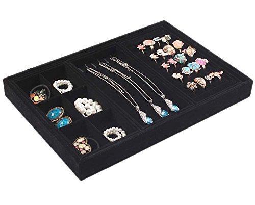 Velvet Jewelry Trays Stackable Jewelry Organization Functionality Showcase Display StorageBlack