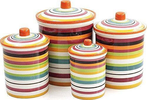 Omniware Rio Multi-Stripe Ceramic 4 Piece Canister Set by Omniware