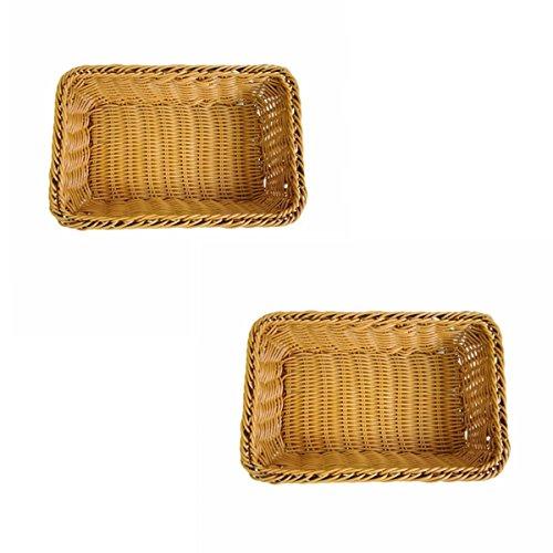 Set of 2 Small Size Woven Storage Baskets Bread Fruit Serving Baskets Gift Baskets RestaurantPantry Display Baskets Organization Baskets in ClosetKitchenBathroomChurchDresser 2 Brown