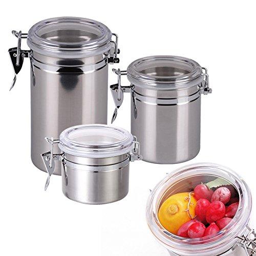 Stainless Steel Sealed Canister Jar Home Kitchen Coffee Sugar Tea Storage Bottles Jars Kitchen Accessories S-1075cm