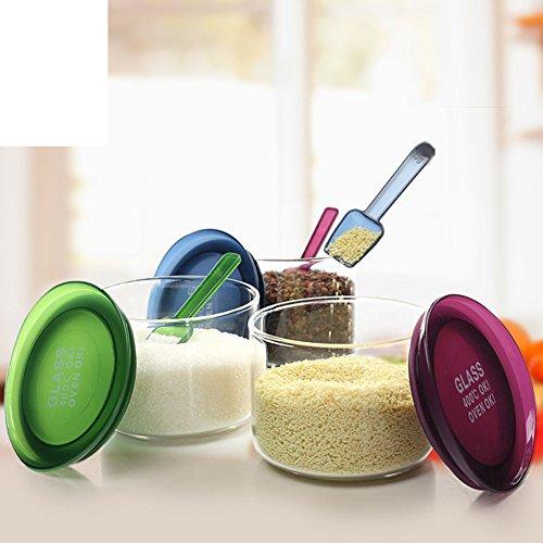 kitchen suppliesRound Spice jar set glass-sealed canister Spice bottle three-set salt tankseasonning box-A