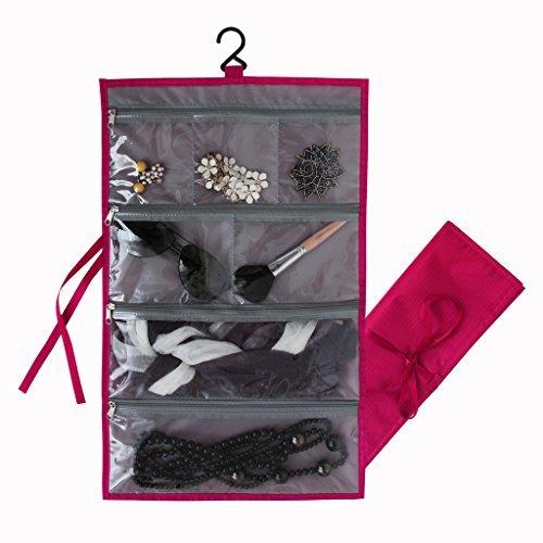 Yepal Unisex-Adult Waterproof Jewelry Roll Bag Hanging Jewelry Organizer Red