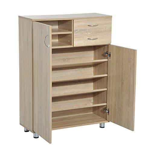 HomCom Shoe Cabinet - Wood Shelf Storage Organizer w Drawers - White Oak