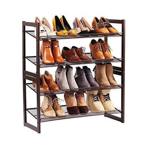 LANGRIA 4-Tier Utility Shoe Rack Metal Stackable ShoeTower Shelf Storage Organizer Cabinet for Entryway Closet Living Room BedroomBronze