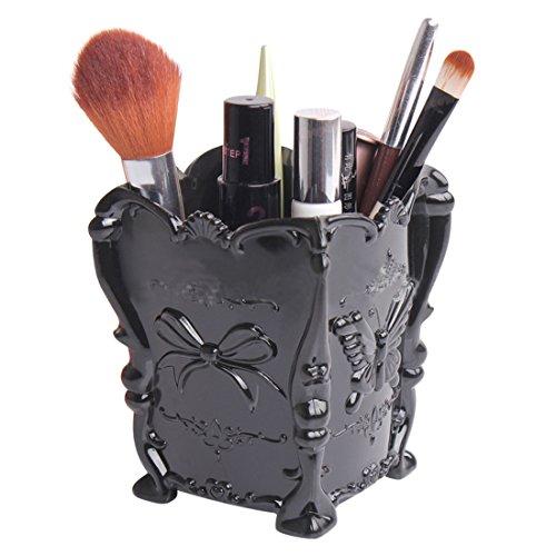 Makeup Brush Holder PeleusTech Engraved Butterfly Makeup Storage Box Case Brush Pen Holder Organizer - Black