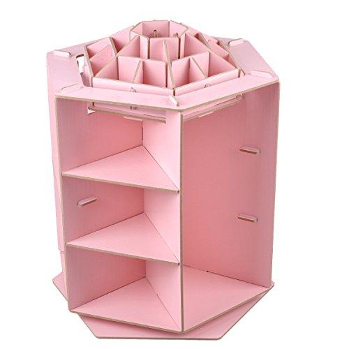 eZAKKA Wooden Jewelry Cosmetic Box 360 Degree Rotation Desktop DIY Cosmetic Storage Box Organizer Makeup Cosmetics Storage Pink