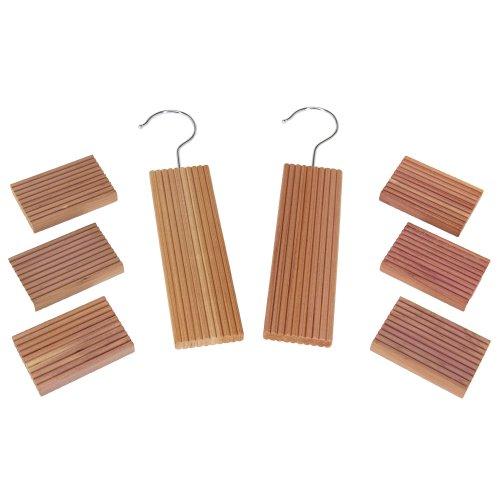 Household Essentials 97204 CedarFresh Red Cedar Wood Closet Value Pack – 2 Cedar Hang Ups and 6 Cedar Blocks