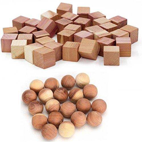 Wahdawn Moth Protection Cedar Balls - Aeromatic Cedar Wood Cubes Moth Away Closet Storage Shoes Freshener 50 Pieces