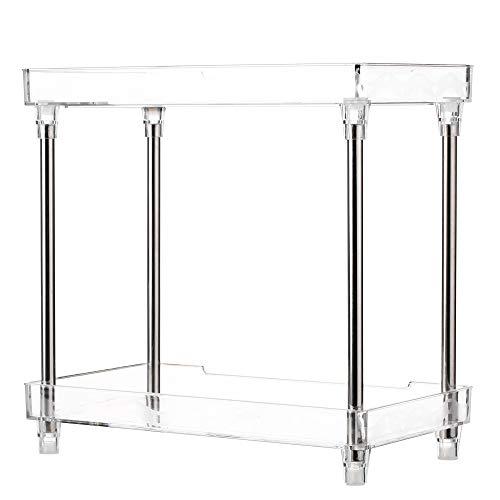 Blusea Makeup Organizer Multi-Functional 2-Tier Cosmetic Organizer Tray Storage Shelf Caddy Stand for Bathroom Vanity Countertop