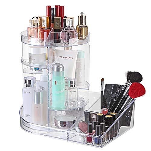 Ogrmar Adjustable 360 Degree Rotating Makeup Organizer TrayLarge Capacity Cosmetics Carousel Storage Rack Fits Toner Creams Makeup Brushes Lipsticks and More Transparent