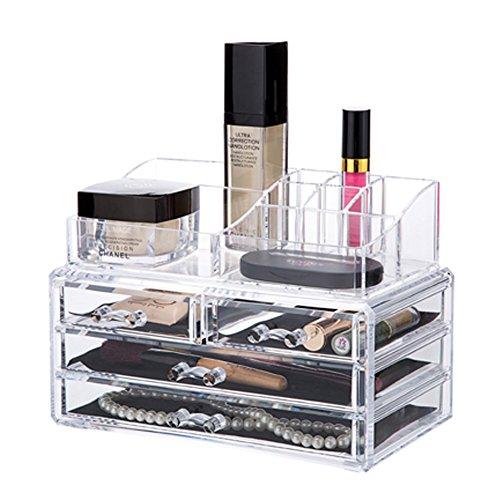 QUBABOBO Clear Acrylic Jewelry Beauty Cosmetic Storage Dispaly Box with DrawerMakeup Organizer 6726