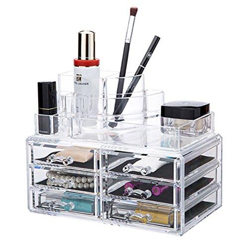 QUBABOBO Transparent Acrylic Jewelry Cosmetic Storage Makeup OrganizerDisplay BoxesDressing Case 6743