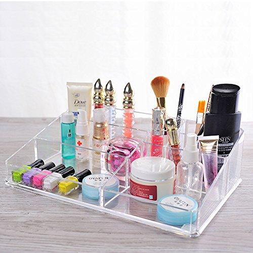 Sooyee Acrylic Lipstick Holder and Lip Gloss Organizer with Makeup Display 9 Grid Makeup Organizer