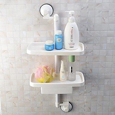 LI Sucker 2 Tier Storage Shelf With Drawer Bathroom Plastic Rack Storage Shelf With Suction Cup