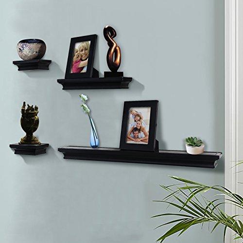 Shelving Solution 6 Pieces Wall Shelf Set Black