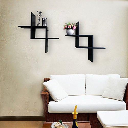 Shelving Solution Set of 2 Reversed Criss Cross Wall Shelf Black