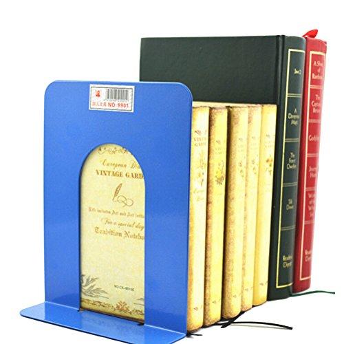 Bookends Book Racks for Desk Accessories L-Shaped Anti-skid Solid Metal Shelf Book Case Holder2PcsLight blue